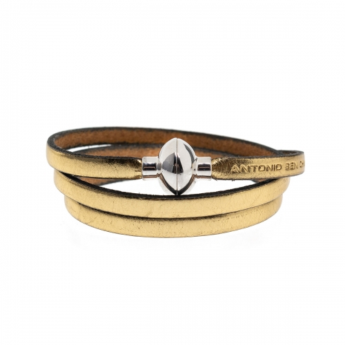Antonio Ben Chimol Metallic Gold Italian Leather Bracelet with Silver Clasp 21_OR_Silver