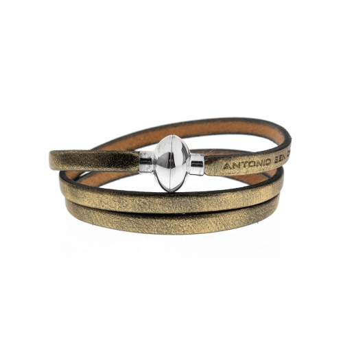 Antonio Ben Chimol Aged Gold Italian Leather Bracelet with Silver Clasp 22_OV_Silver