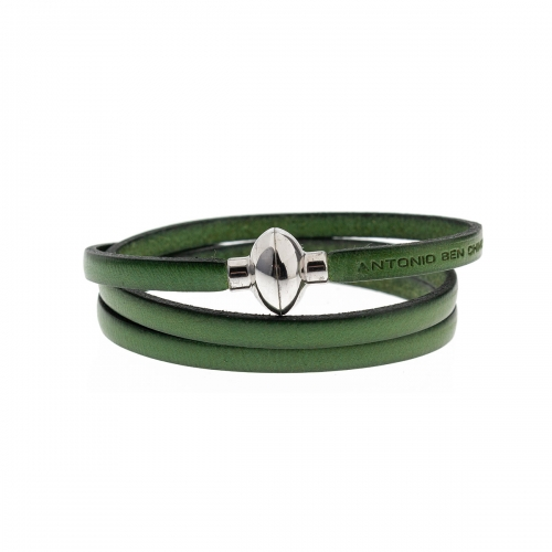 Antonio Ben Chimol Green Italian Leather Bracelet with Silver Clasp 10_MO_Silver