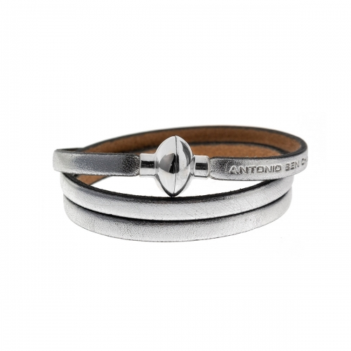 Antonio Ben Chimol Metallic Silver Italian Leather Bracelet with Silver Clasp 19_PT_Silver
