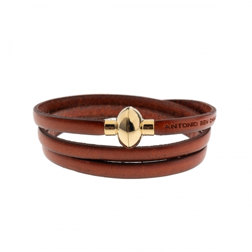 Antonio Ben Chimol Burnt Orange Italian Leather Bracelet with Gold Clasp 03_VO_Gold