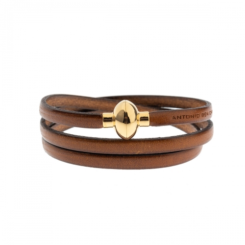 Antonio Ben Chimol Brown Italian Leather Bracelet with Gold 05_Md Gold Clasp