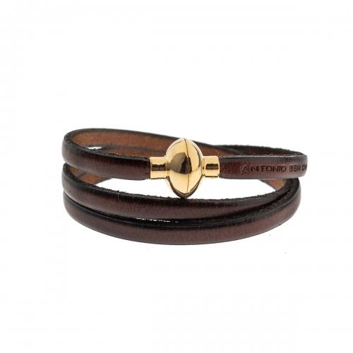 Antonio Ben Chimol Chocolate Brown Italian Leather Bracelet with Gold