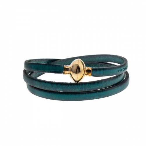 Antonio Ben Chimol Turquoise Italian Leather Bracelet with Gold Clasp 07_TQ_Gold