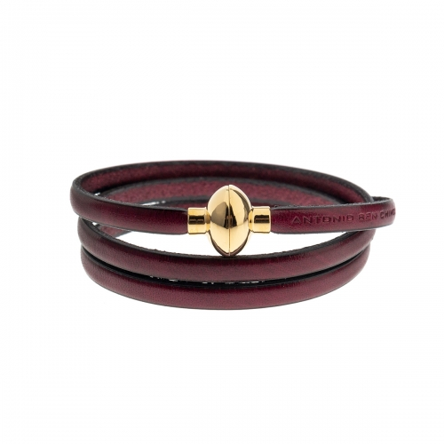 Antonio Ben Chimol Dark Purple Italian Leather Bracelet with Gold Clasp 08_AE_Gold