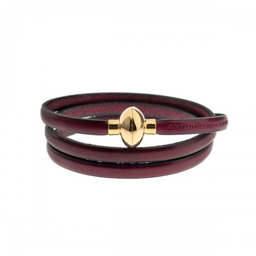 Antonio Ben Chimol Dark Purple Italian Leather Bracelet with Gold Clasp 08_AE_Gold