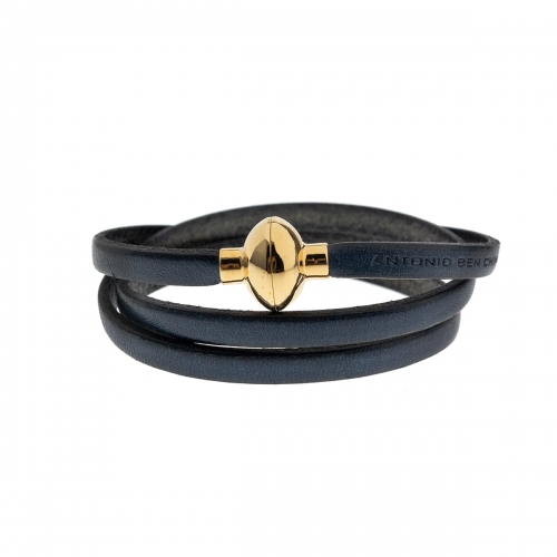 Antonio Ben Chimol Navy Italian Leather Bracelet with Gold Clasp 11_AO_Gold