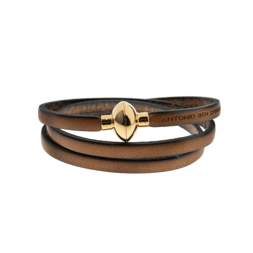 Antonio Ben Chimol Tan Italian Leather Bracelet with Gold Clasp 12_BG_Gold