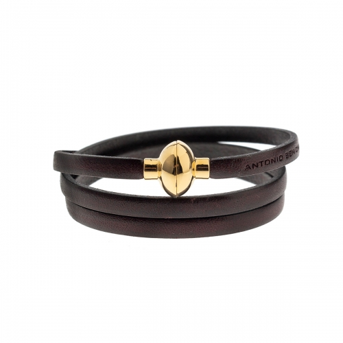 Antonio Ben Chimol Dark Brown Italian Leather Bracelet with Gold Clasp 13_MT_Gold