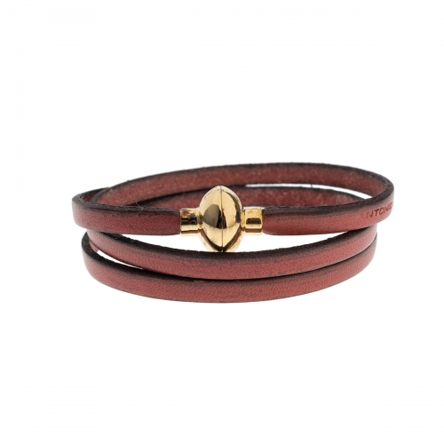 Antonio Ben Chimol Light Red Italian Leather Bracelet with Gold Clasp 14_RO_Gold