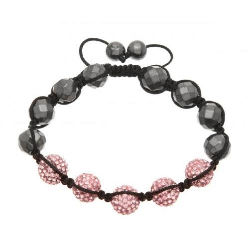Lucet Mundi Pink Crystal and Hematite Shamballa Bracelet