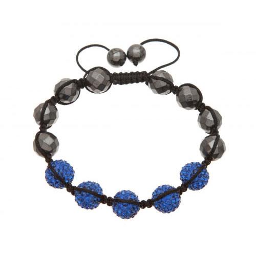 Lucet Mundi Blue Crystal and Hematite Shamballa Bracelet