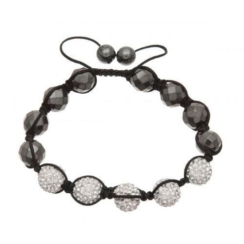 Lucet Mundi Silver Crystal and Hematite Shamballa Bracelet