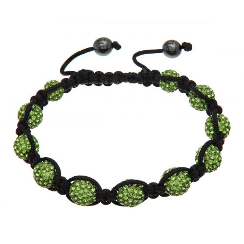 Lucet Mundi Green Crystal Shamballa Bracelet