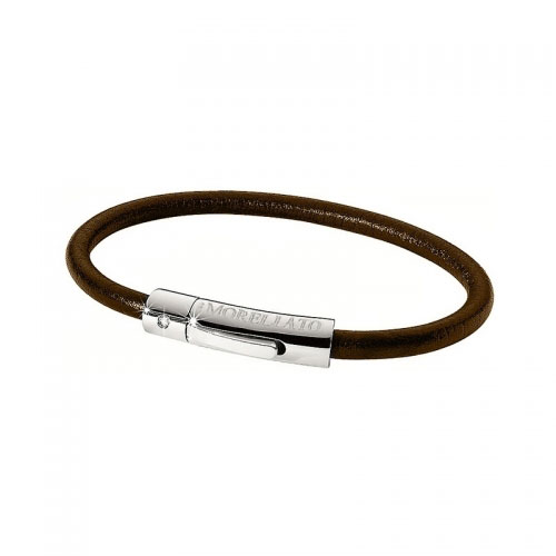Morellato Link Brown Leather Bracelet with Diamond Steel Clasp