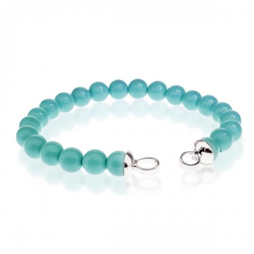 Zinzi Turquoise Pearl Beaded 19cm Bracelet ZIA401T