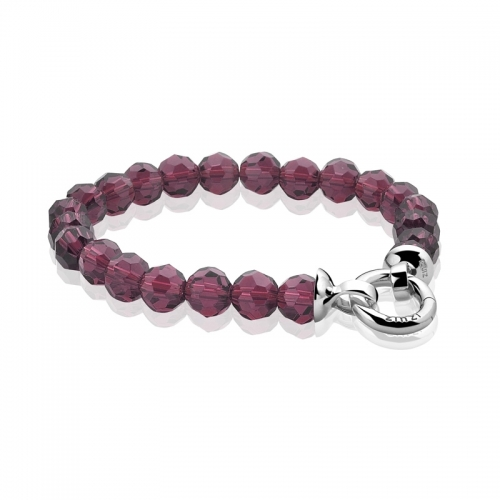 Zinzi Purple Faceted Beaded 19cm Bracelet