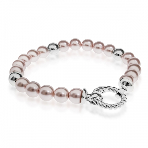 Zinzi Pink Pearl and Silver 19cm Bracelet