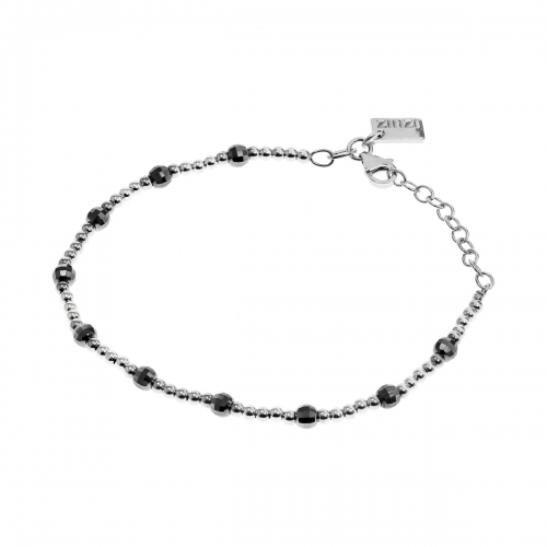 Zinzi Black Bead and Silver Bracelet ZIA738L
