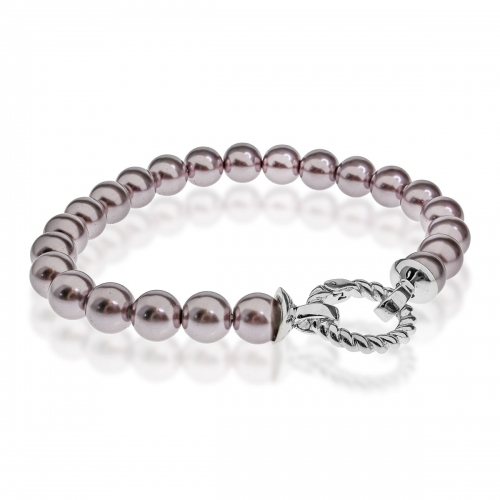 Zinzi Purple Pearl 19cm Bracelet ZIA401P & Silver Lock ZI360