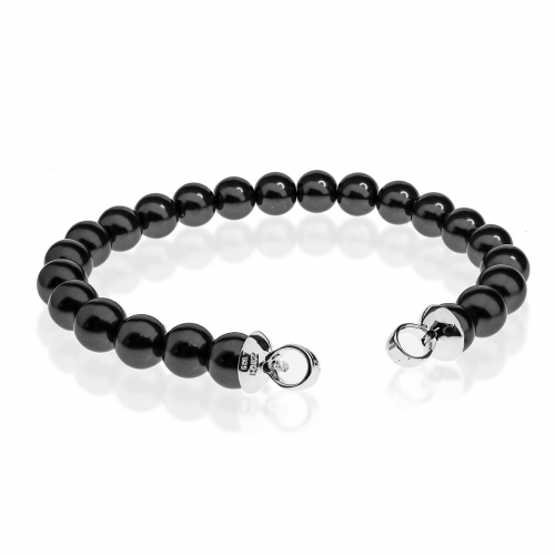 Zinzi Dark Grey Pearl Beaded 19cm Bracelet