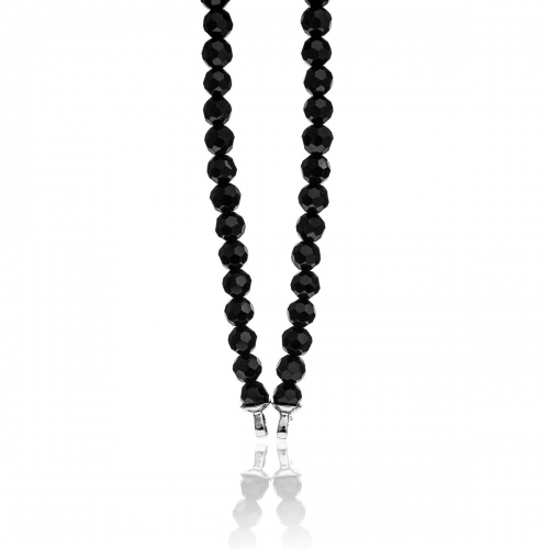 Zinzi Black Faceted Beaded 45cm Necklace