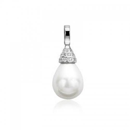 Zinzi White Pearl and White Zirconia Pendant