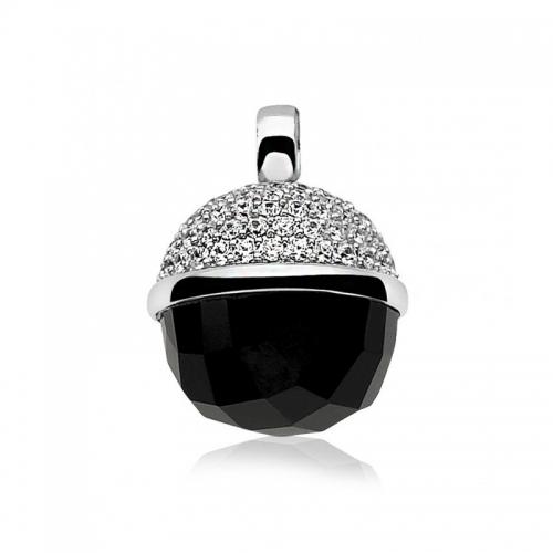 Zinzi Silver Ball and Black Pendant