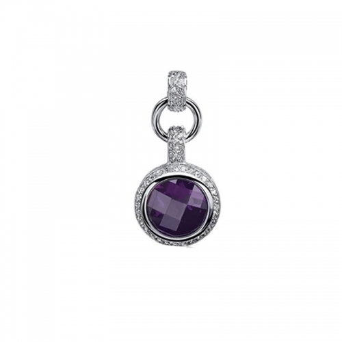 Zinzi Sterling Silver Pendant with Purple Stone