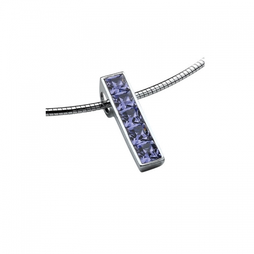 Zinzi Purple Swarovski Silver Bar Pendant