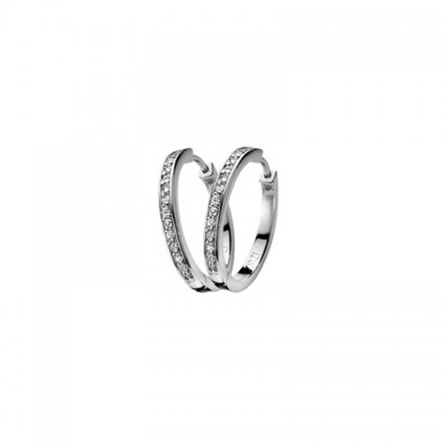 Zinzi Silver and Cubic Zirconia Hoop Earrings