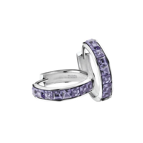 Zinzi Purple CZ Earring Hoops