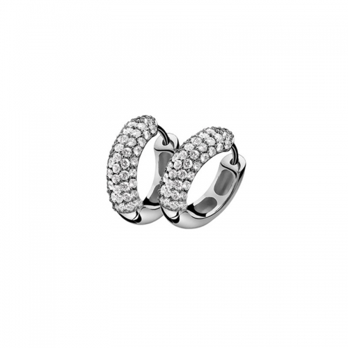 Zinzi Sterling Silver and White Zirconia Pave Earrings
