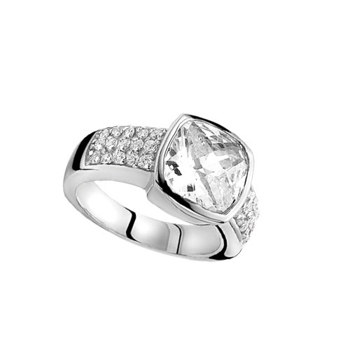 Zinzi Sterling Silver Ring with Clear Square Cut Cubic Zirconia