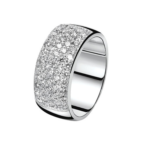 Zinzi Silver Ring with CZ Band