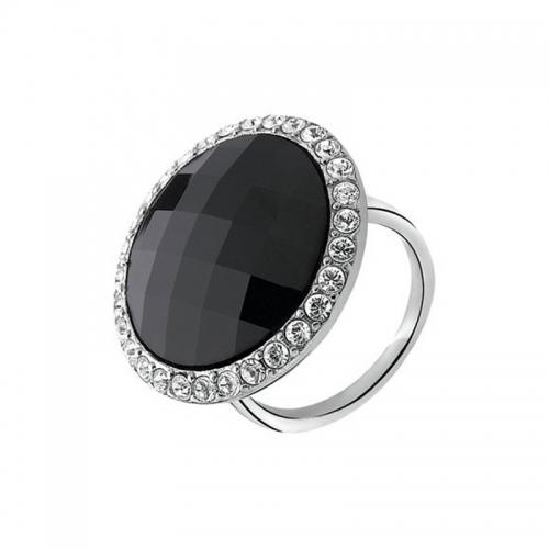 Zinzi Black Swarovski Crystal Silver Ring
