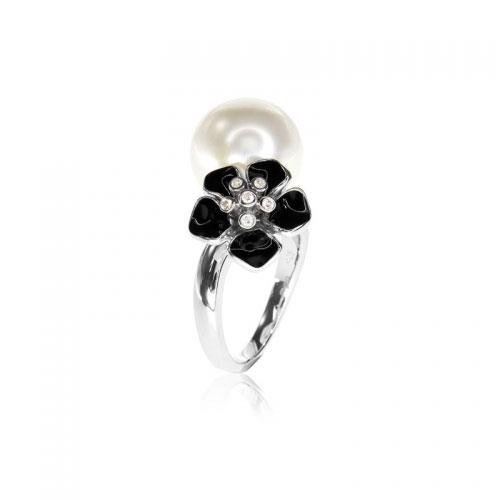 Belle Etoile Snowdrop Black Ring