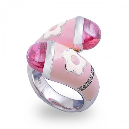 Belle Etoile Fleur Twist Pink Ring