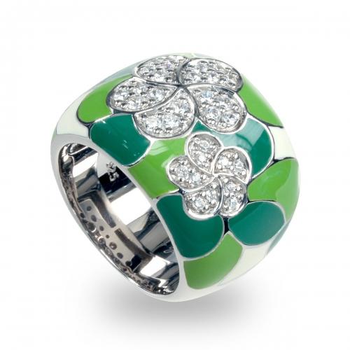 Belle Etoile Plumeria Green Ring