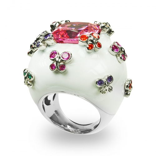 Belle Etoile Farfalla Allegra White Ring