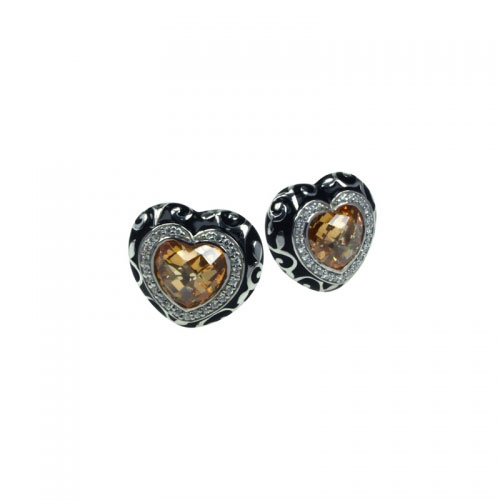 Belle Etoile Royale Heart Champagne Earrings