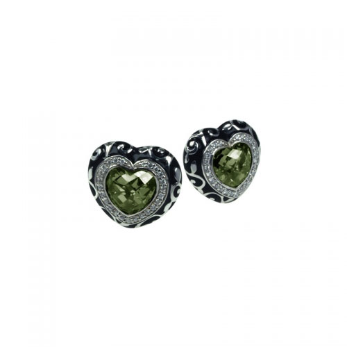 Belle Etoile Royale Heart Green Earrings
