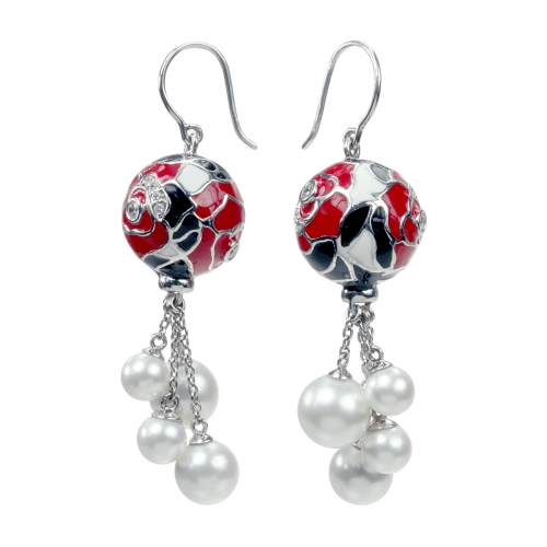 Belle Etoile Botanique Pearl Red Earrings