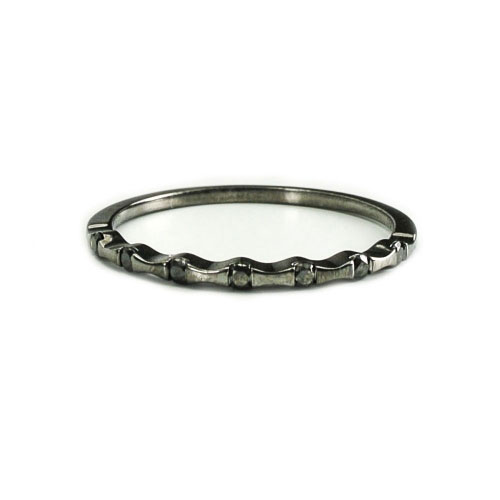 Belle Chique Black Rhodinated Gold Ring With Black Diamonds