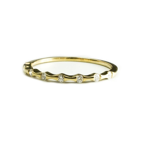 Belle Chique Yellow Gold Ring With White Diamonds