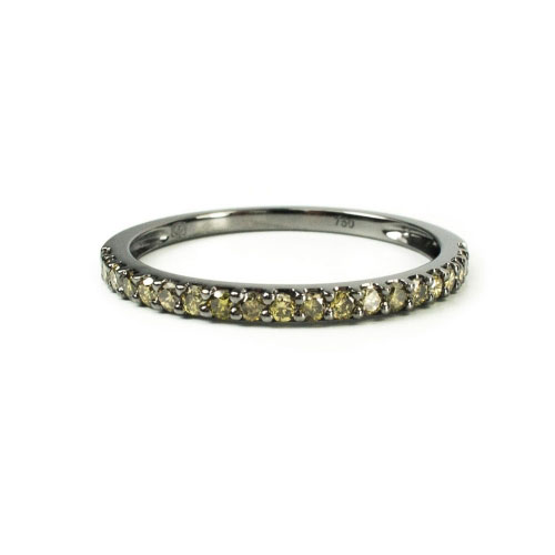 Belle Chique Black Rhodinated Gold Ring With Green Diamonds
