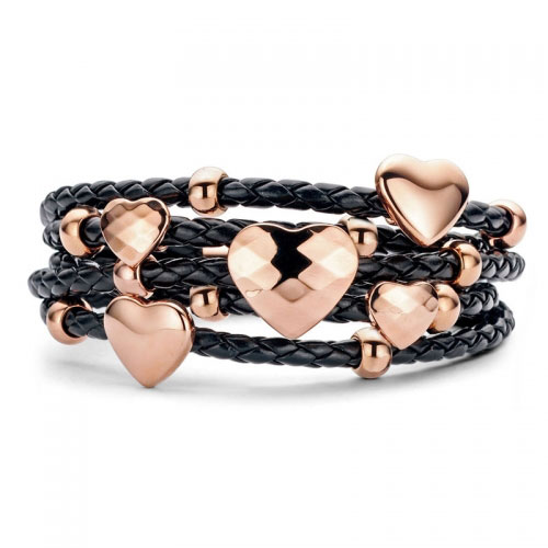 Claudine Black Hearts Rings Leather Style Bracelet