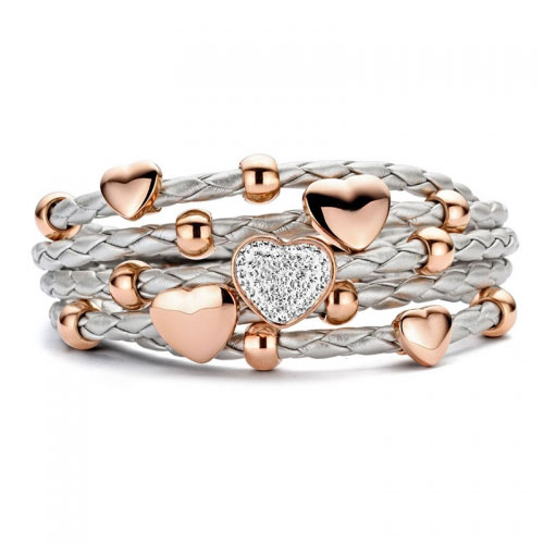 Claudine Silver Leather Bracelet with CZ and Rose Gold Plated Hearts