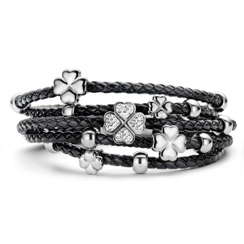 Claudine Black Leather Bracelet with CZ and Silver Tone Clovers