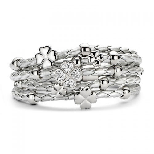 Claudine Silver CZ Clover Leather Bracelet